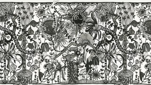 wallcovering painting black and white xilitla mexico